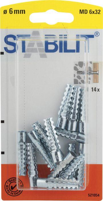 Yleistulppa Stabilit Metalli 6 x 32 mm 14 kpl/pkt