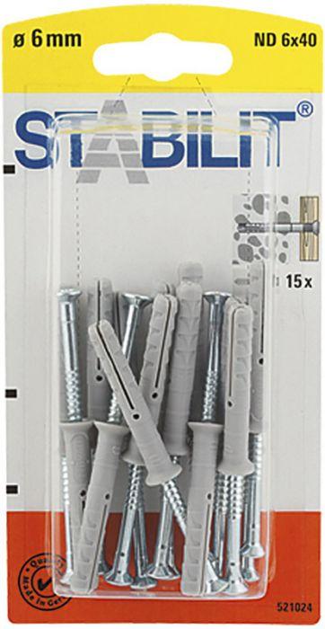 Naulatulppa Stabilit ND 6 x 40 mm 15 kpl/pkt