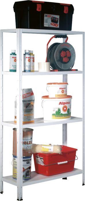 Metallihyllykkö Regalux Valkoinen 160 x 84 x 30 cm