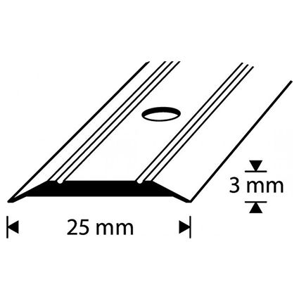 Saumalista Dione 25 mm alumiini 270 cm