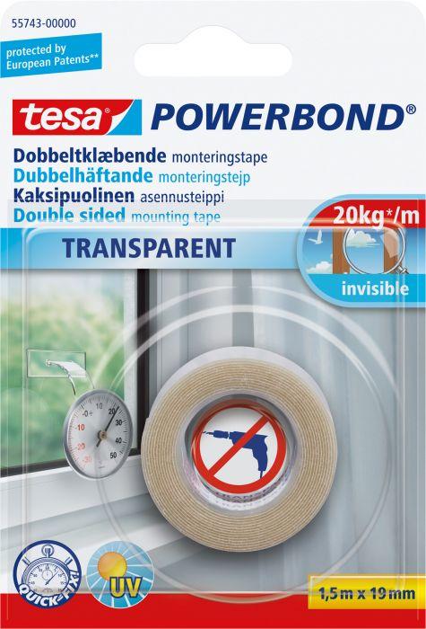 Asennusteippi Tesa PowerBond Läpinäkyvä 1,5 m x 19 mm
