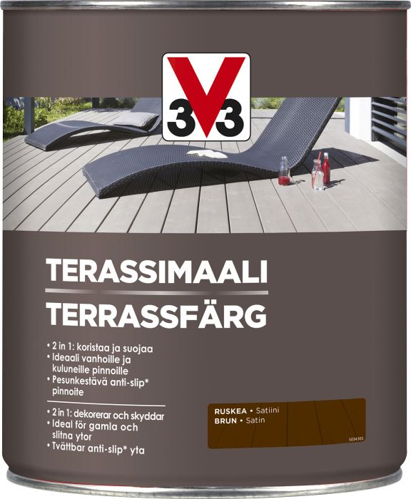 Terassimaali V33 Ruskea 5 L