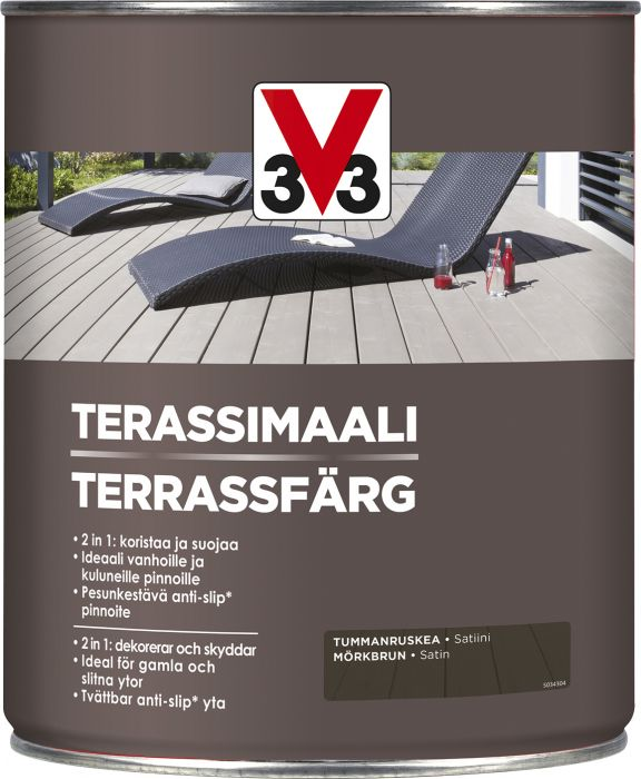 Terassimaali V33 Tummanruskea 5 L