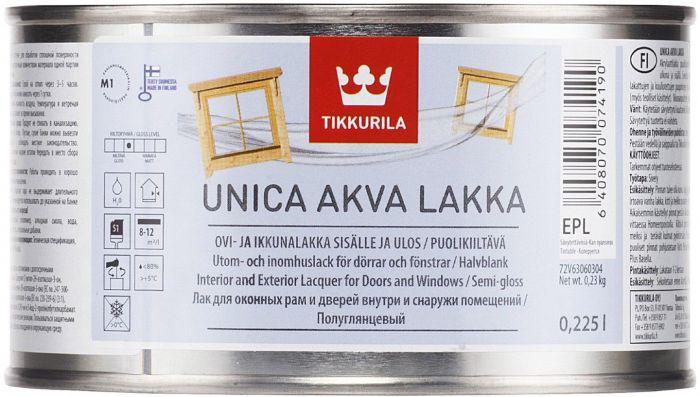 Ovi- ja ikkunalakka Tikkurila Unica Akva Puolikiiltävä