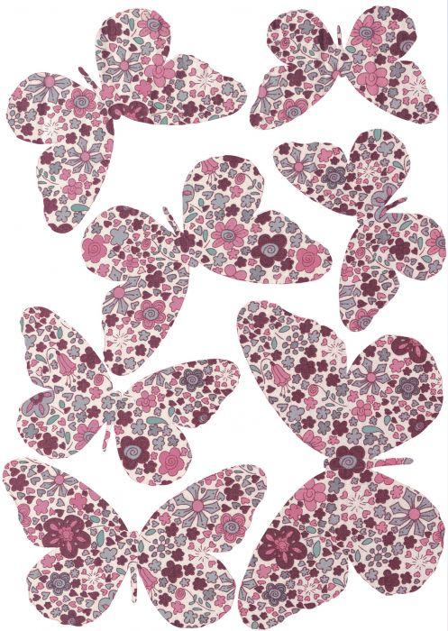 Seinätarra Plage 3D Pinkit Perhoset