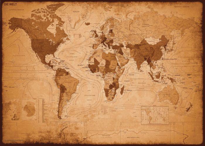 Sisustustaulu Reinders Weltkarte Antik Optik