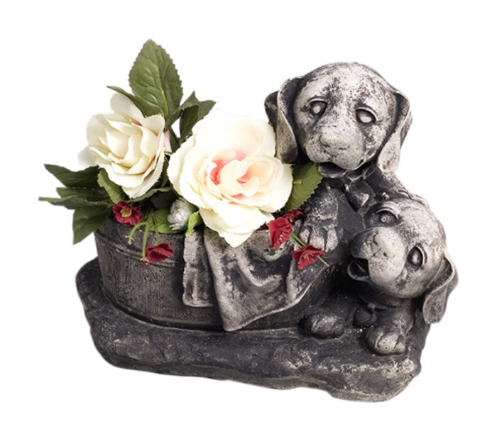 Puutarhakoriste koirat kulhon kanssa 22 cm