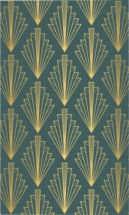 Fototapetti Plage Panoramic Green And Gold Art Deco