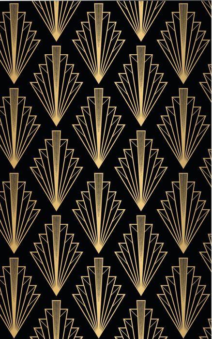 Fototapetti Plage Panoramic Black And Gold Art Deco