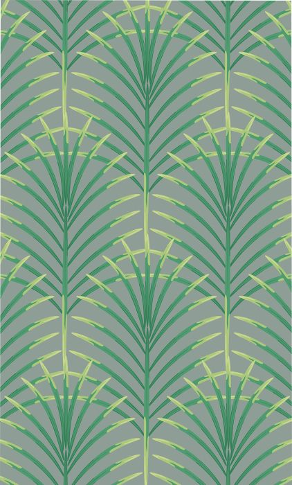 Fototapetti Plage Panoramic Green Art Deco Leaves