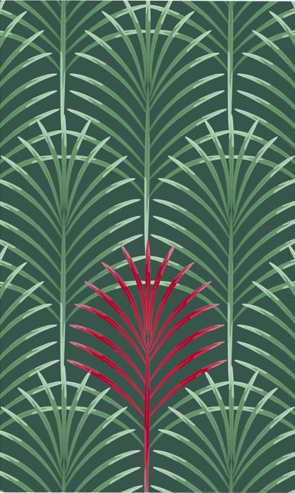 Fototapetti Plage Panoramic Green And Red Art Deco Leaf