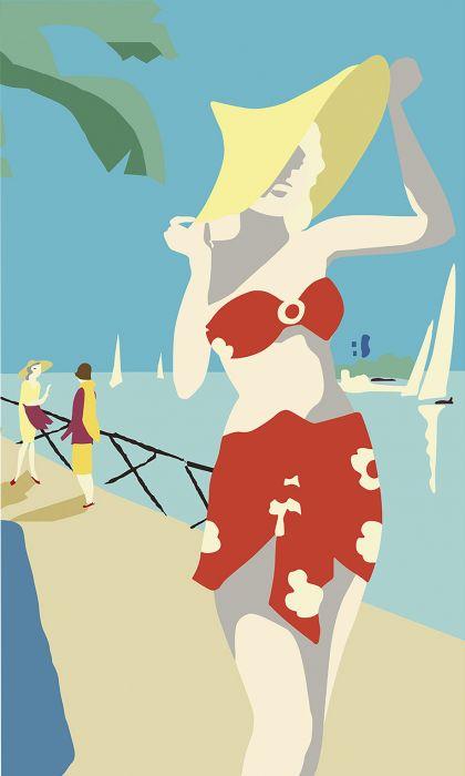 Fototapetti Plage Panoramic Riviera Swimming Suit