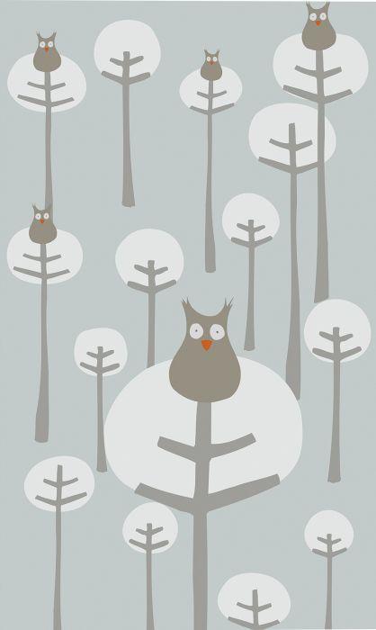 Fototapetti Plage Panoramic Children Light Gray Owls