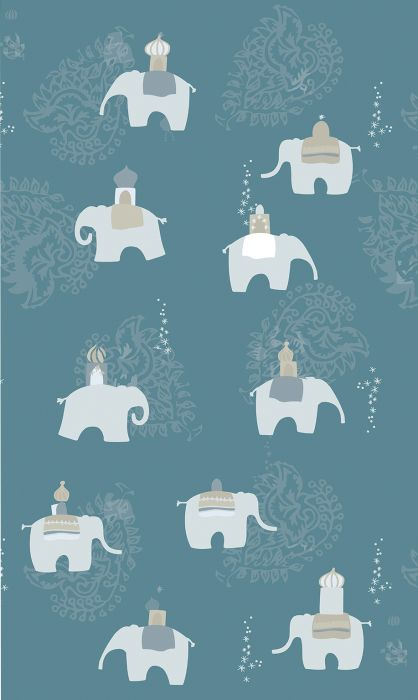 Fototapetti Plage Panoramic Children Blue Elephants
