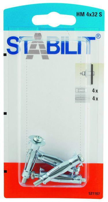 Läpivientitulppa Stabilit Metalli M 4 x 32 mm S 4 kpl/pkt