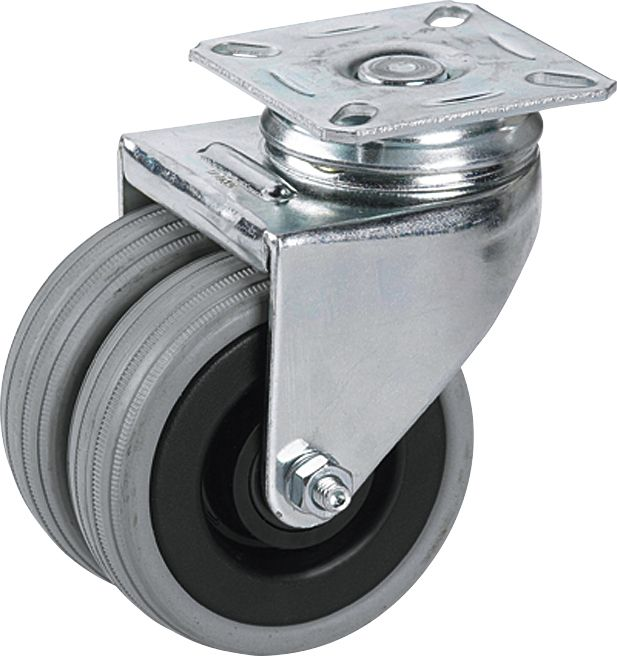 Kaksoispyörä Stabilit 75 x 25 mm, levy 60 x 60 mm