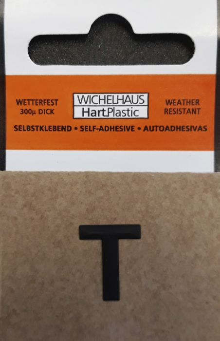 Kirjain Wichelhaus HartPlastic Musta 15 mm T