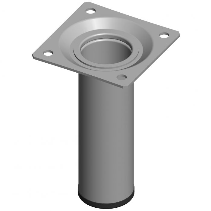 Teräsputkijalka Element System Pyöreä Valkoinen alumiini 100 mm ⌀ 30 mm