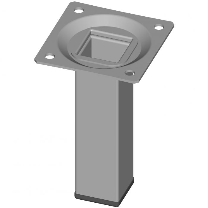 Teräsputkijalka Element System Neliö Valkoinen alumiini 100 mm 25 x 25 mm