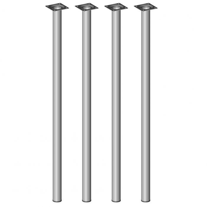Teräsputkijalkasetti 4 kpl Element System Pyöreä Harmaa alumiini 700 mm ⌀ 30 mm