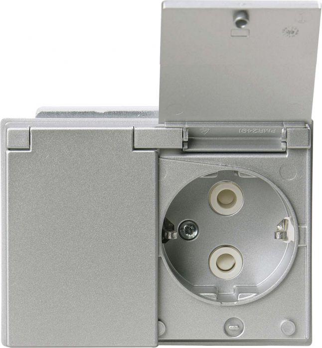 Pistorasia ABB 2-Os Läppäkannella Alumiini IP44