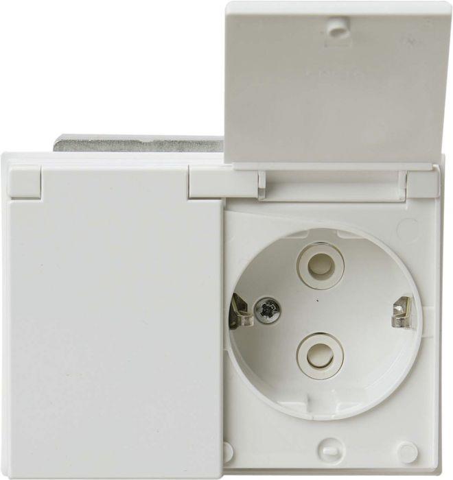 Pistorasia ABB 2-Os Läppäkannella Valkoinen IP44