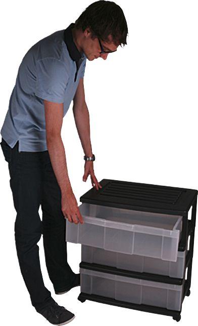 Muovilaatikosto 3 lokeroa 69 x 60 x 41 cm