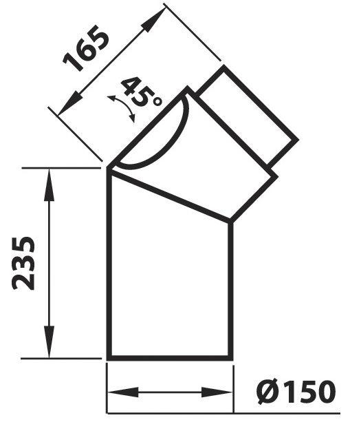 Liiitosputki Aduro musta 45 astetta. 235x165 mm. Puhdistusluukulla.
