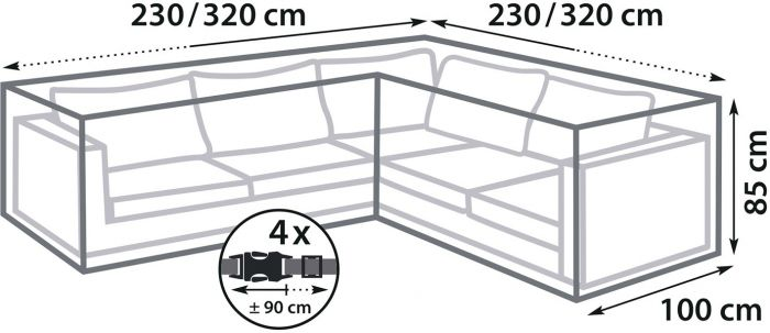 Kalustesuoja SunFun XL kulmasohvaan 230/320 x 100 x 85 cm