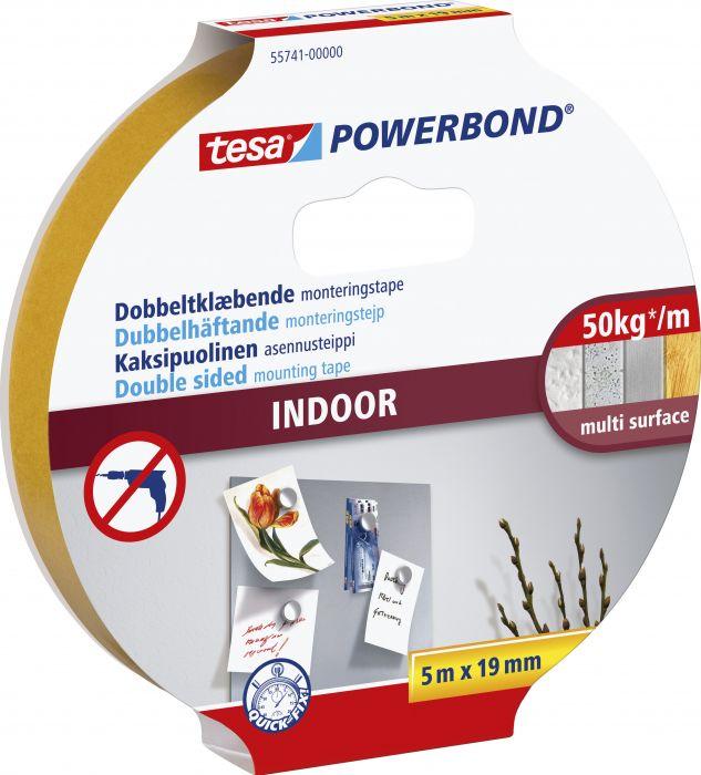 Asennusteippi Tesa 2-puolinen Powerbond Indoor sisäkäyttöön 5 m x 19 mm