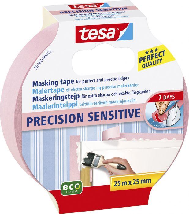 Maalarinteippi Tesa Precision 25 m x 25 mm Vaaleanpunainen
