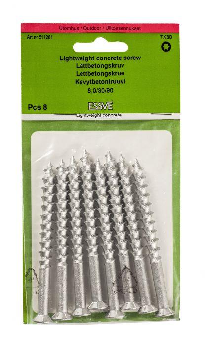 Kevytbetoniruuvi Essve 8 x 90 mm 8 kpl