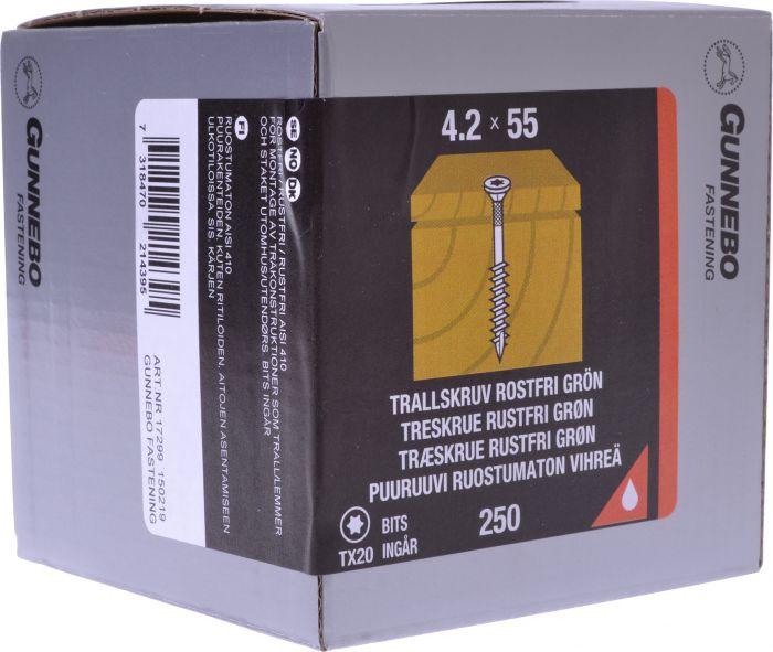 Terassiruuvi Gunnebo Vihreä 4,2 x 55 mm