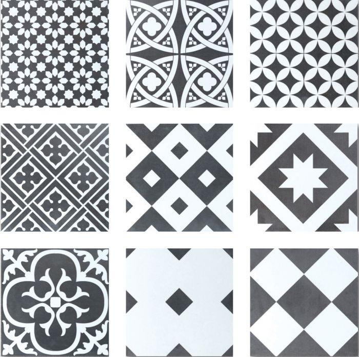 Seinä- ja Lattialaatta Retro Mix-musta-valkoinen 20 x 20 cm