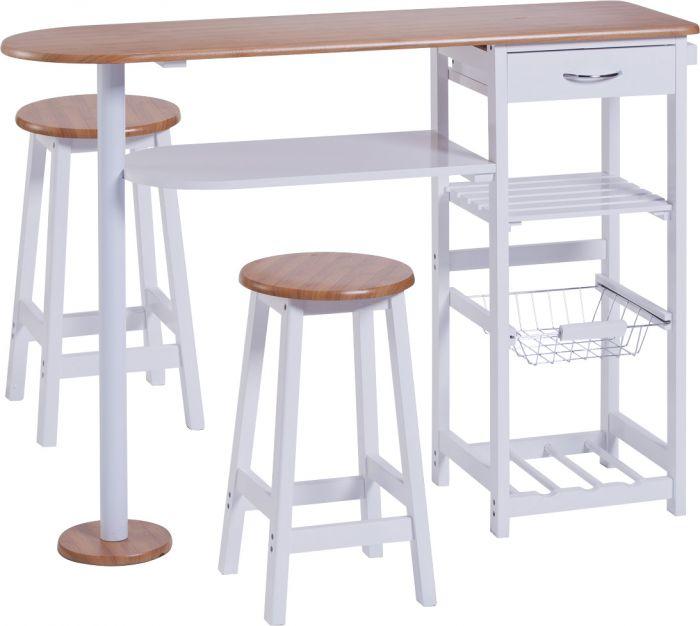 Baaripöytä + 2 Tuolia Zeller Valkoinen