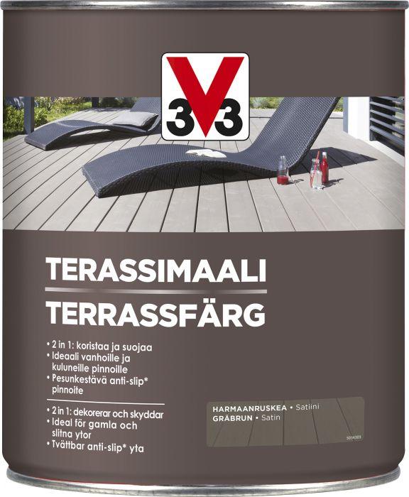 Terassimaali V33 Harmaanruskea 5 L