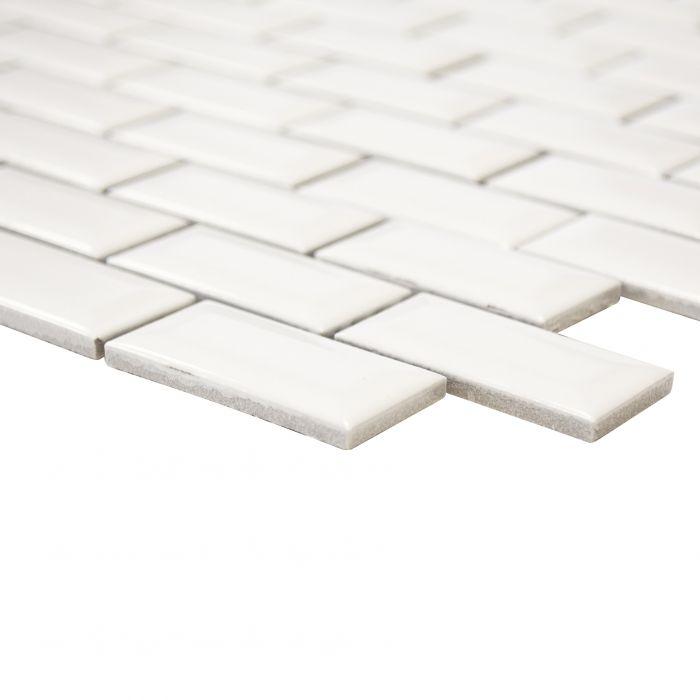 Mosaiikki Brick Bond Diamond Kiiltävä Valkoinen