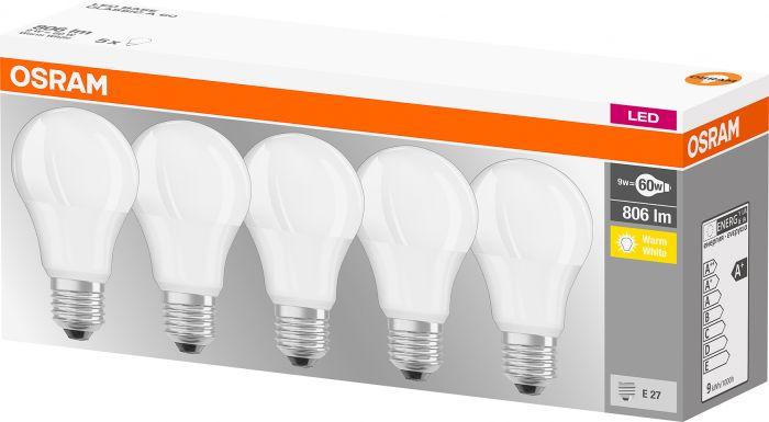LED-vakiolamppu Osram 5-pack 9 W