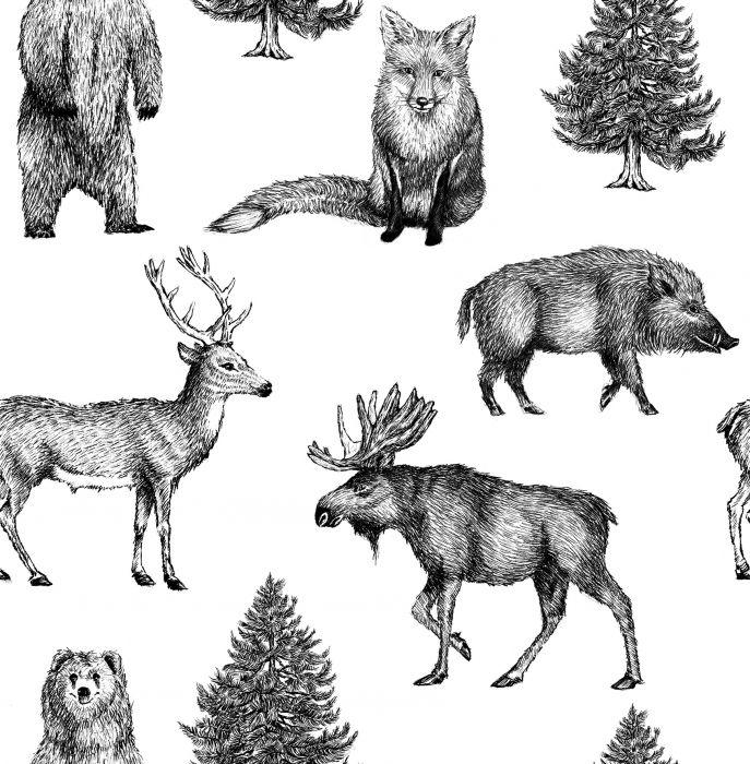 Kuitutapetti Vermeil Metsän Eläimet