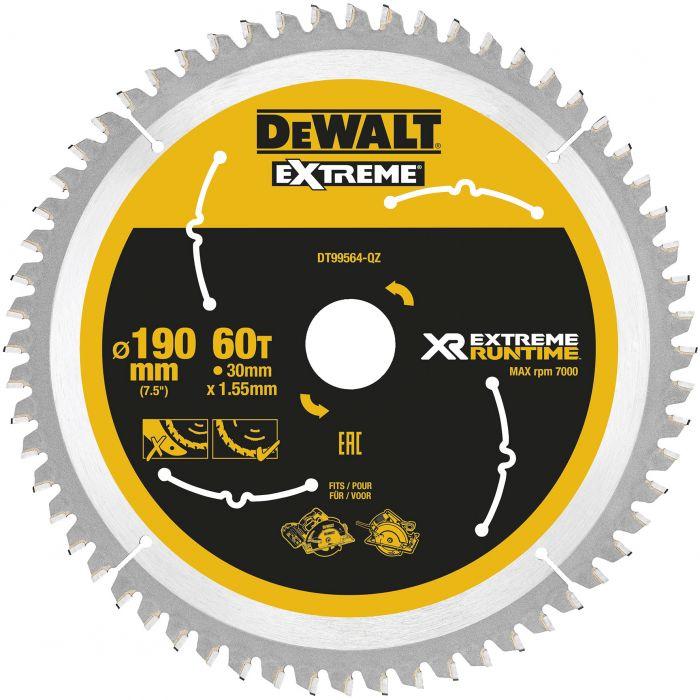Pyörösahanterä DeWalt Extreme Runtime DT99564 190 x 30 mm 60T
