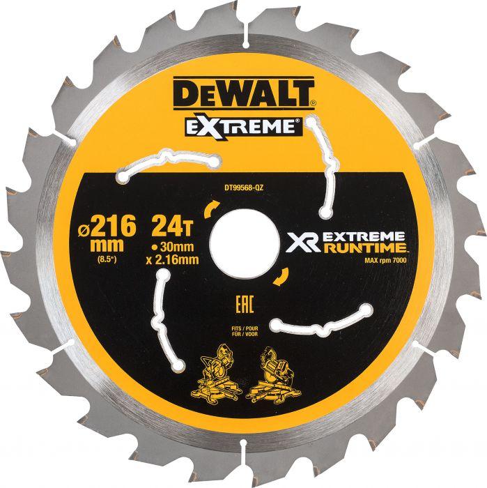 Pyörösahanterä DeWalt Extreme Runtime DT99568 216 x 30 mm 24T