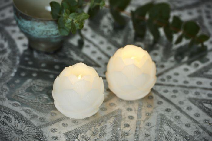 LED-kynttilä Sirius Helene kukka 2 kpl valkoinen
