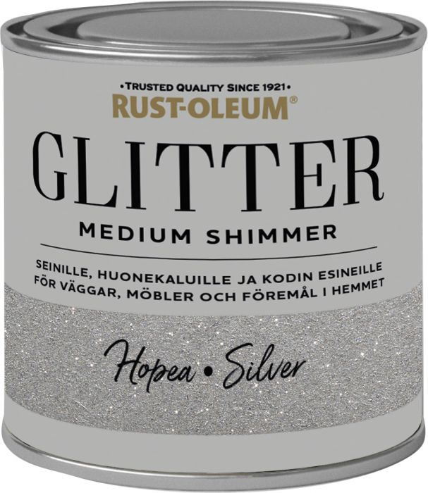 Sisustusmaali Rust-Oleum Medium Glitter Silver 250 ml