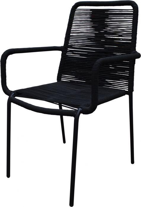 Puutarhatuoli Sunfun Lukas käsinojilla musta