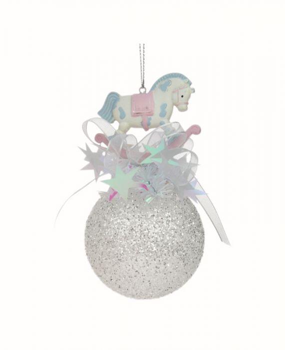 Joulupallo 65 mm keinuhevonen