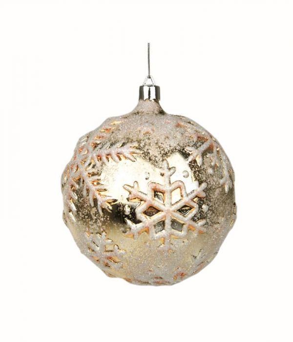 Joulukuusenpallo 65 mm kulta kohokuvio