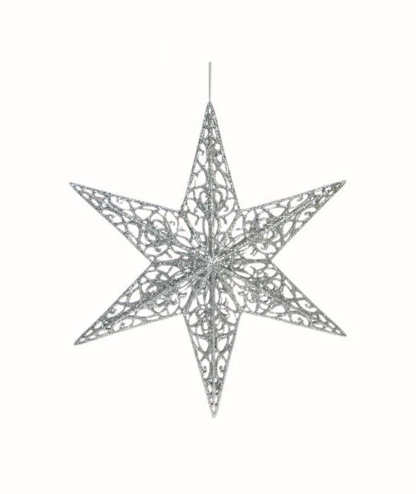 Filigraanitähti 3D 35 cm hopeaglitteri