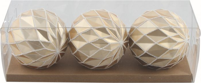 Joulukuusenpallo 3 kpl Ø 8 cm kultaglitter