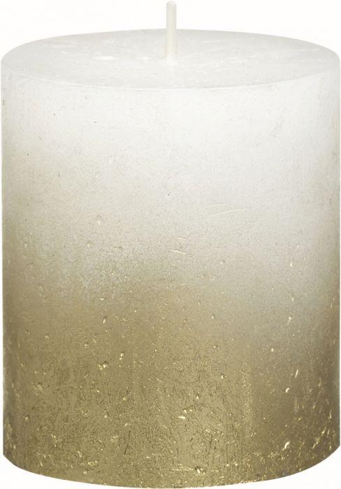 Pöytäkynttilä 8 x 6,8 cm liukuvärjätty kulta-valkoinen