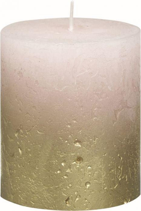 Pöytäkynttilä 8 x 6,8 cm liukuvärjätty kulta-pastellipinkki
